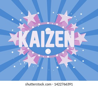 kaizen has mean japanese people spirit, beautiful greeting card background, poster or banner for summer party event