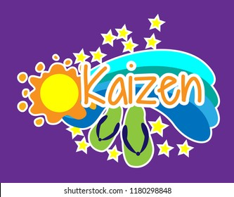 kaizen has mean japanese spirit, greeting card background or banner with beach theme. design illustration