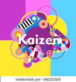 kaizen has mean japanese spirit beautiful greeting card background or banner with colorful theme. design illustration