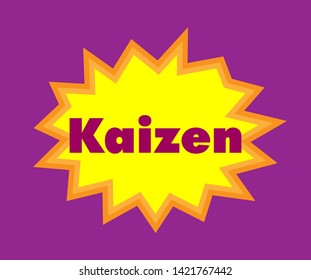 kaizen has mean japanese spirit,Beautiful greeting card poster with pop art style calligraphy text