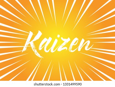 kaizen has mean spirit, beautiful greeting card background or banner with pop art theme. design illustration