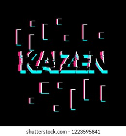 kaizen has mean spirit, creative greeting card or label with glitch theme on black background vector design illustration, it can use for label, logo, sign, sticker or printing for t-shirt.