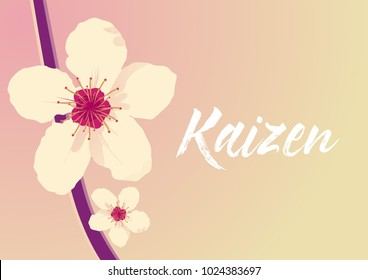 kaizen has mean spirit of japan, beautiful greeting card with flower background