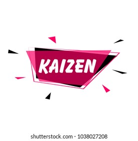kaizen has mean spirit of japan, greeting card or sign with pink label