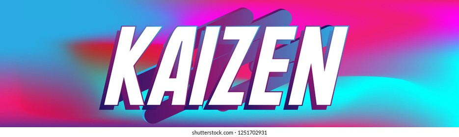 kaizen has mean spirit of japan, label or banner with colorful background