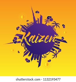 kaizen has mean spirit of japanese people, beautiful greeting card and hand drawn text background or banner with city and travel theme. vector