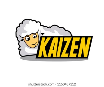 kaizen has mean spirit of japanese people beautiful greeting card or label with sheep illustratition for farm theme, vector background, poster or banner