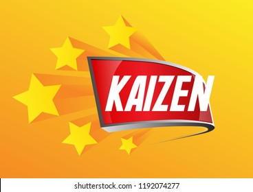 kaizen has mean spirit of japanese people, beautiful greeting card background, poster or banner with 3d prize label decoration theme. design vector illustration