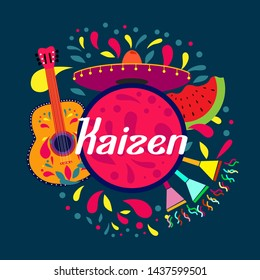 kaizen has mean spirit of japanese people, beautiful greeting card background or banner with colorful summer theme. design illustration