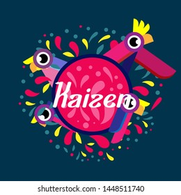 kaizen has mean spirit of japanese, beautiful greeting card background or banner withcolorful bird theme. design illustration