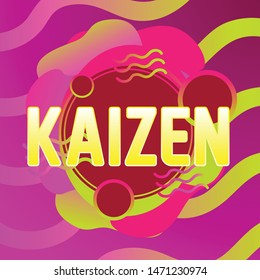 kaizen has mean spirit of japanese people, beautiful greeting card background or banner with violet theme. design illustration