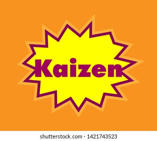 kaizen has mean spirit op japanese people, Beautiful greeting card poster with pop art calligraphy text