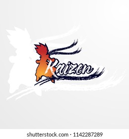 kaizen logo concept has mean spirit of japan. company logo design, vector illustration