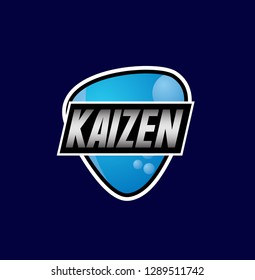 kaizen means improvement, beautiful greeting card background or banner with blue theme. design illustration - Vector