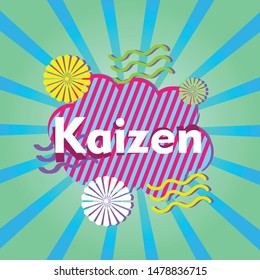 kaizen means spirit of japanese people, beautiful greeting card background or banner with retro theme. design illustration