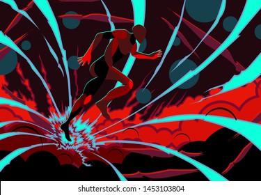 kaizen running background for sport event. vector illustration