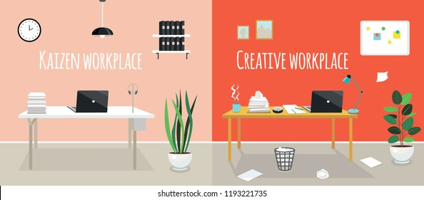 Kaizen work place and creative work place. Chaos or cleanness in your office room. Two styles of workplace organization. Order and disorder on the table.