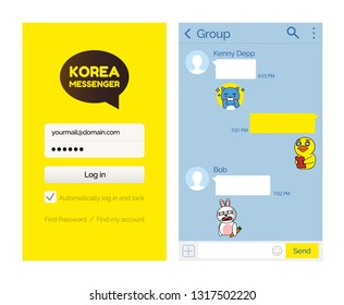 Kakao talk messenger Korean application for users vector. Internet technology for people to speak, communication via internet smartphone mobile app