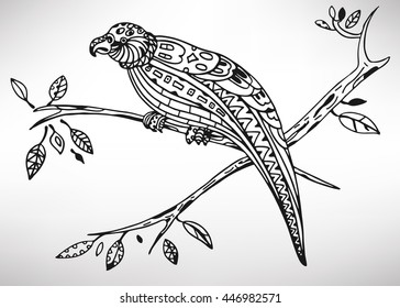 Kakapo. Hand-drawn with ethnic pattern. Coloring page - isolated on a white background. Zendoodle patterns. Vector illustration.