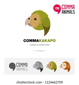 Kakapo New Zealand bird concept icon set and modern brand identity logo template and app symbol based on comma sign