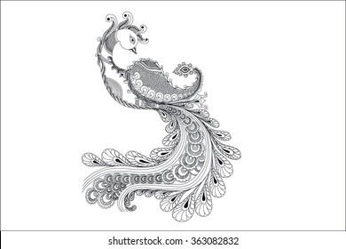 kalakari peacock design vector