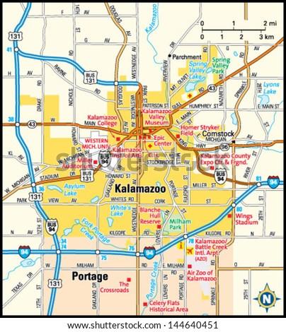 Kalamazoo Michigan Area Map Stock Vector (Royalty Free) 144640451 ...