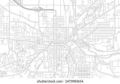 Kalamazoo, Michigan, USA, bright outlined vector map with bigger and minor roads and steets created for infographic backgrounds.