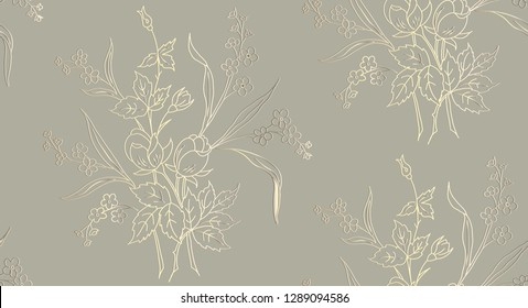 Kalamkari. Floral seamless pattern can be used for wallpaper, textile printing, card. Hand drawn endless vector illustration of roses on light background. Floral background. Duotone Vector .