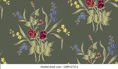 Kalamkari. Floral seamless pattern can be used for wallpaper, textile printing, card. Eucalyptus branch greenery leaves berry. Floral background.  Fabric Printing