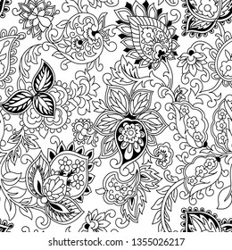 Kalamkari seamles pattern black and white