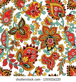 Kalamkari seamles pattern color