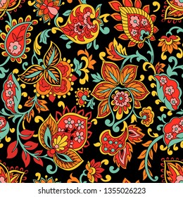 Kalamkari seamles pattern color on black