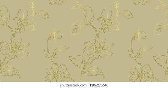 Kalamkari. Seamless pattern with stylized flowers. Floral seamless pattern can be used for wallpaper, textile printing, card. Hand drawn endless vector illustration of flowers on light background.