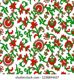 kalamkari vector colorful jaipuri pattern.