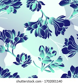 Kalanchoe. Leaves. Vegetation. Seamless vector pattern with flowers. Hand drawing.