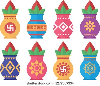 Kalash designs set. Different types of kalash in poster