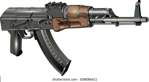 Kalashnikov AK 47 without stock Vector Illustration isolated on white background