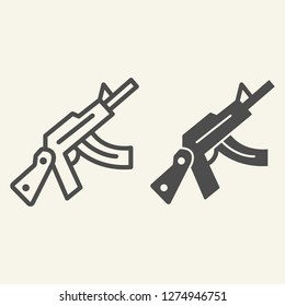 Kalashnikov assault rifle line and glyph icon. Automatic gun vector illustration isolated on white. Weapon outline style design, designed for web and app. Eps 10