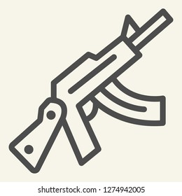 Kalashnikov assault rifle line icon. Automatic gun vector illustration isolated on white. Weapon outline style design, designed for web and app. Eps 10