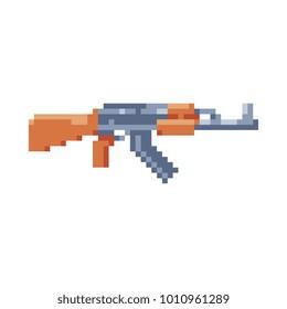 Kalashnikov assault rifle. Pixel art. AK47 icon. Game assets. Stickers design. Isolated vector illustration.