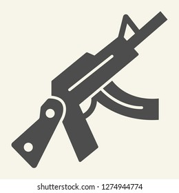 Kalashnikov assault rifle solid icon. Automatic gun vector illustration isolated on white. Weapon glyph style design, designed for web and app. Eps 10
