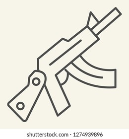 Kalashnikov assault rifle thin line icon. Automatic gun vector illustration isolated on white. Weapon outline style design, designed for web and app. Eps 10