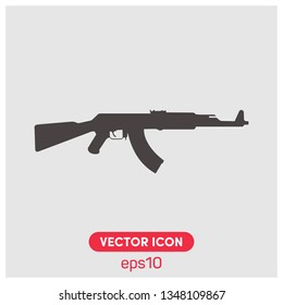 Kalashnikov assault rifle vector icon illustration. Premium quality.