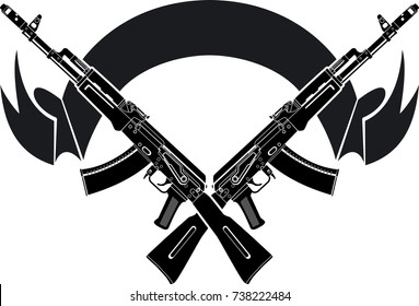 Kalashnikov assault rifles and banner