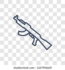 Kalashnikov icon. Trendy linear Kalashnikov logo concept on transparent background from army and war collection