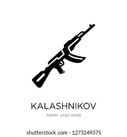 kalashnikov icon vector on white background, kalashnikov trendy filled icons from Army and war collection, kalashnikov simple element illustration