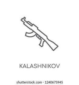 Kalashnikov linear icon. Modern outline Kalashnikov logo concept on white background from army and war collection. Suitable for use on web apps, mobile apps and print media.
