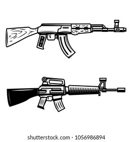 Kalashnikov, M16 automatic rifle. Design element for emblem, sign, poster, t shirt. Vector illustration