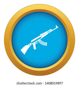 Kalashnikov machine icon blue vector isolated on white background for any design
