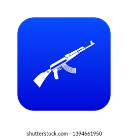 Kalashnikov machine icon digital blue for any design isolated on white vector illustration